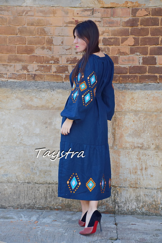 Blue Dress Color Embroidery Linen Dress Embroidered Vyshyvanka Dress Ukrainian