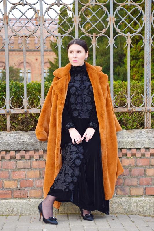 Velvet Dress Embroidered, Black Dress Black Embroidery, Bohemian Vyshyvanka Dress Ukrainian