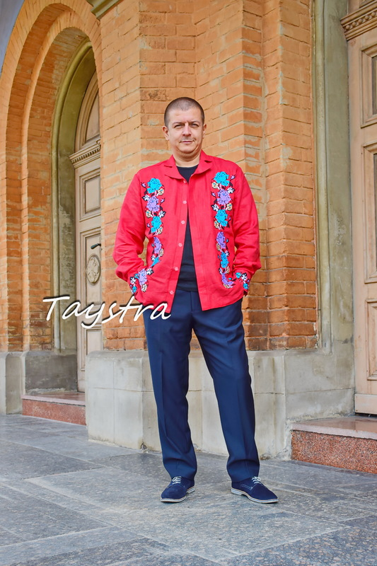 Shirt with embroidery ethno style, embroidered red vyshyvanka, Ukrainian embroidered