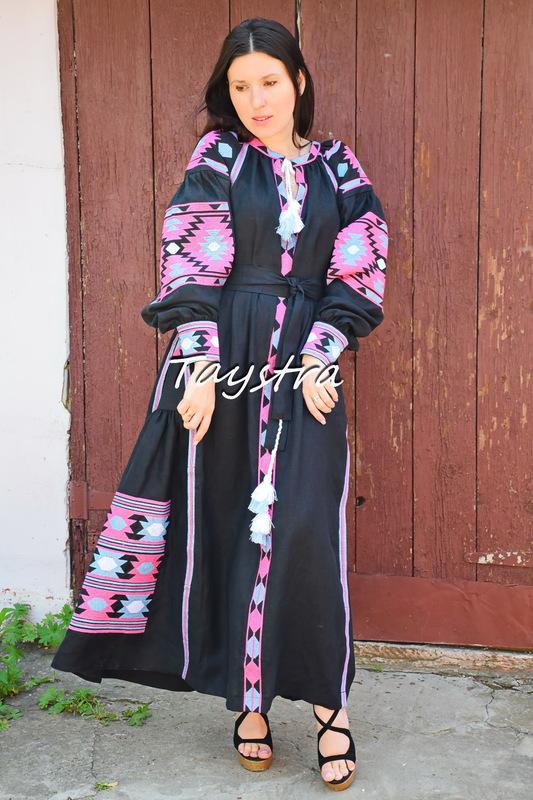Embroidered Black Dress linen ethno style boho chic Bohemian Vyshyvanka Dress Multi Color Embroidery Linen Ukrainian embroidery Fashionable stylish evening dress
