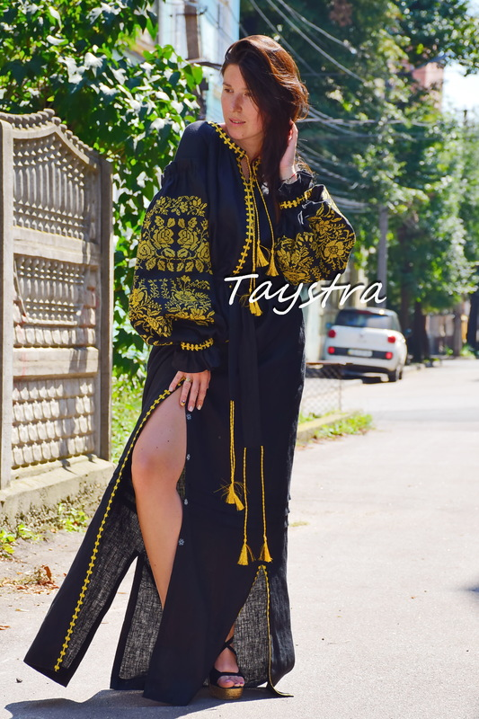 Black Embroidered Maxi Dress Gold Embroidery, ethno style boho chic, Bohemian, Vyshyvanka Dress Multi Color Embroidery Linen, Ukrainian embroidery