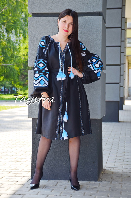 Short Black Dress Embroidered Vyshyvanka Dress Embroidery Linen Mini Dress Ukrainian
