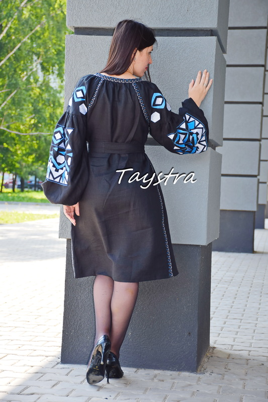 Short Black Dress Embroidered Vyshyvanka Dress Embroidery Linen Mini Dress Ukrainian
