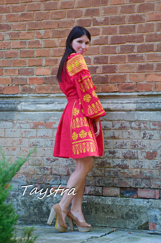Midi Dress Embroidered, Red Linen Dress Vyshyvanka Ukrainian embroidery