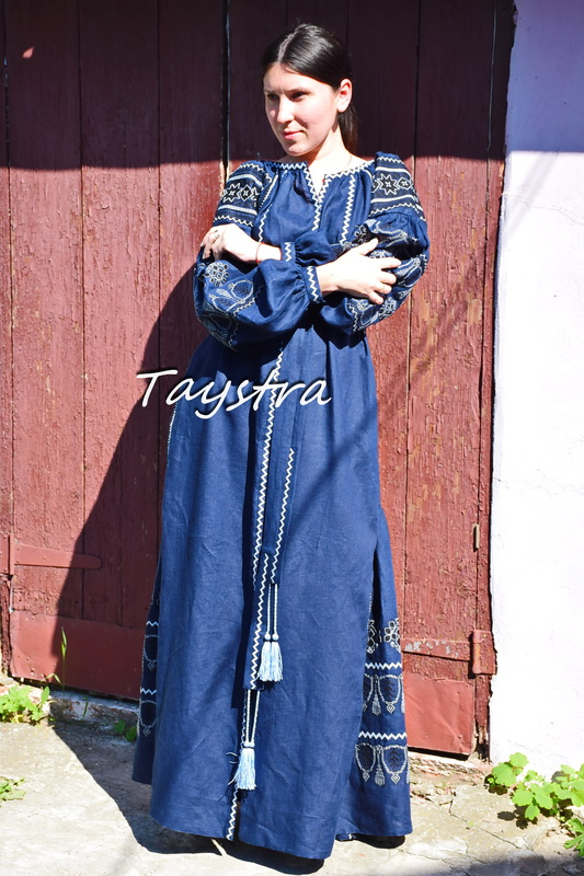 Dark Blue Dress Embroidered linen, ethno style boho chic, Vyshyvanka Dress Multi Color Embroidery Linen, Fashionable stylish evening dress