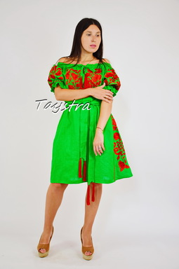 Embroidered Dress Linen Vyshyvanka Dress Embroidery Linen, Ukrainian embroidery Green Dress