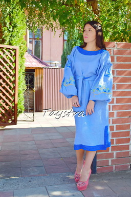 Ukrainian embroidery Sky-Blue Dress Vyshyvanka Dress Embroidery Linen, Midi Dress