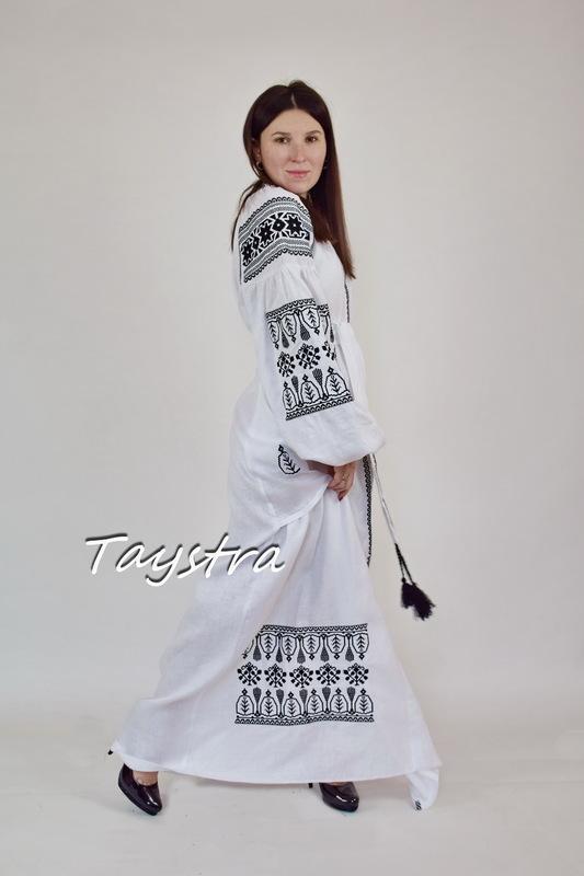 Embroidered Dress Black Embroidery, White Linen Dress Vyshyvanka Ukrainian