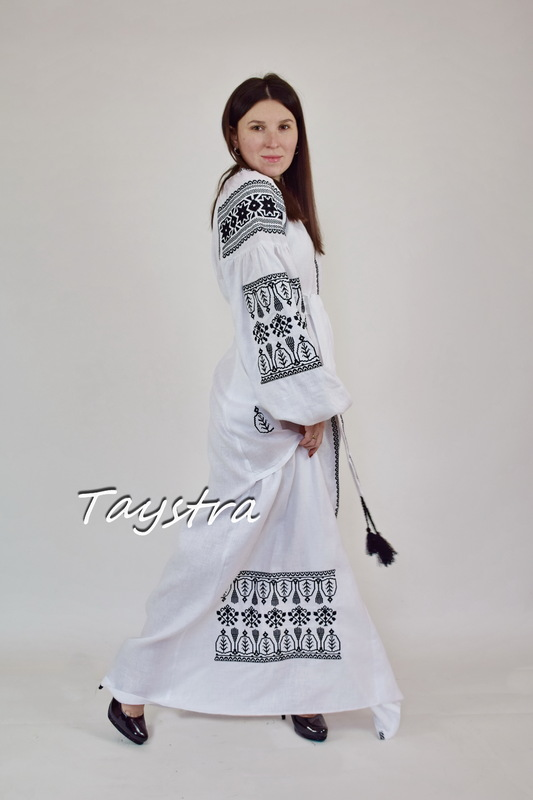 Embroidered Dress Black Embroidery, White Linen Dress Vyshyvanka Ukrainian