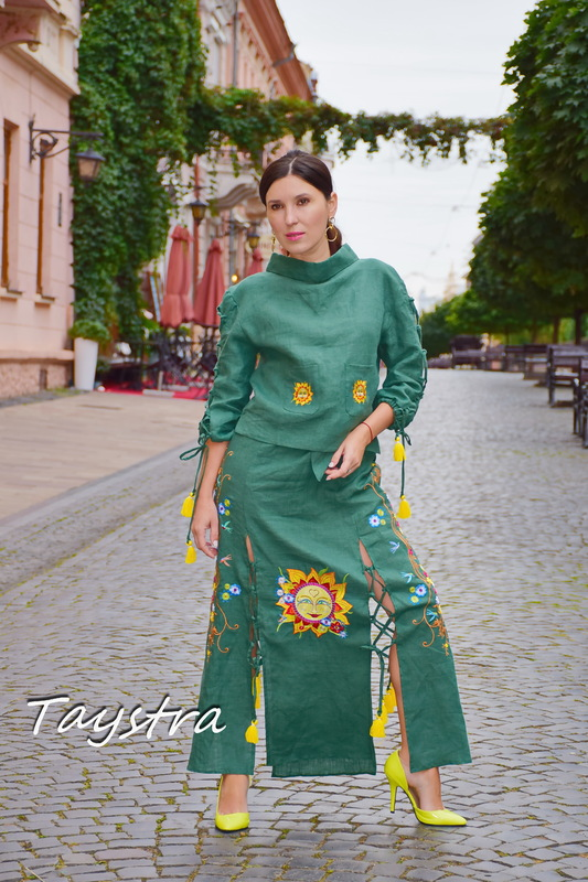 Skirt with embroidery, four wedges embroidered green skirt, summer skirt with a belt and lacing