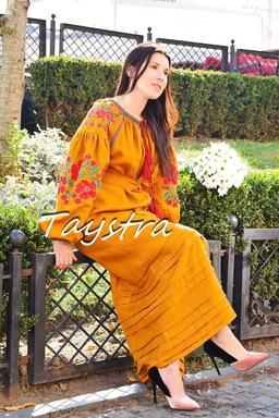 Embroidered Dress Boho style boho chic, Honey Dress Vyshyvanka, Multi Color Embroidery Linen Ukrainian embroidery