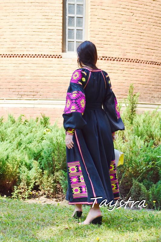 Black Dress Vyshyvanka Dress Embroidery Linen Dress Ukrainian