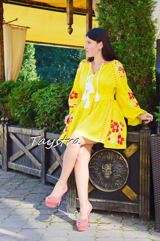 Short Yellow Dress Embroidered Vyshyvanka  Linen Dress Gypsy