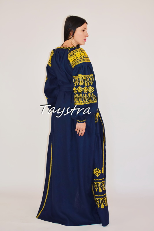Vyshyvanka Dress Embroidered Maxi Dress Gold Embroidery stylish evening dress