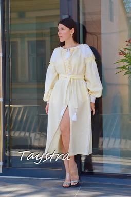 Beige Dress Embroidered Vyshyvanka Ukrainian embroidery, ethno style boho chic