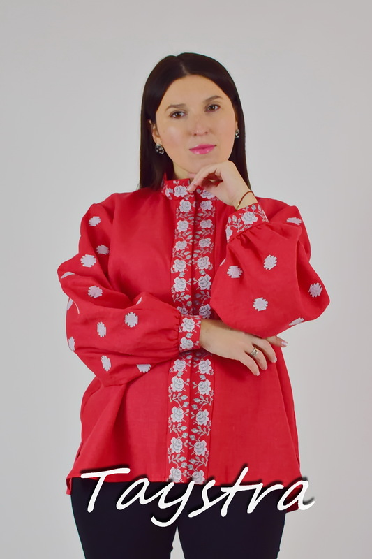 Vyshyvanka Ukrainian Embroidered Blouse, Red Embroidered Blouse