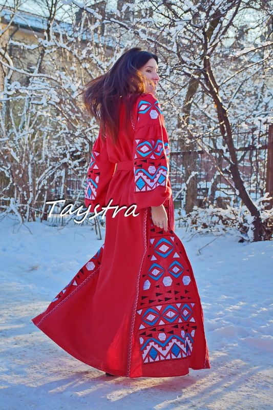 Maxi Dress Embroidery Red Linen Dress Vyshyvanka Ukrainian embroidery Dress Embroidered