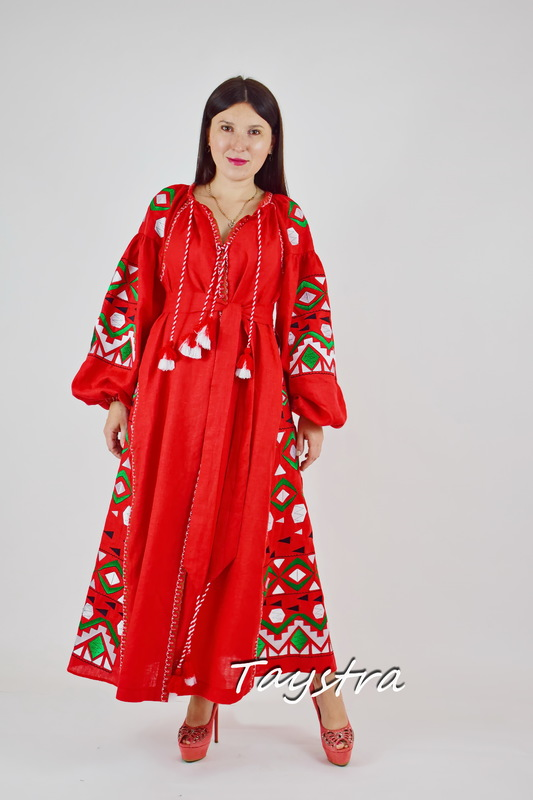 Dress Embroidered Red Maxi Dress Multi Color Embroidery Linen Dress Vyshyvanka Ukrainian embroidery