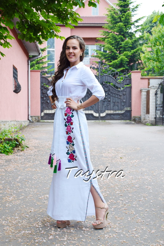 Skirt Embroidered Vyshyvanka Ukrainian embroidery boho ethno style, White skirt embroidered