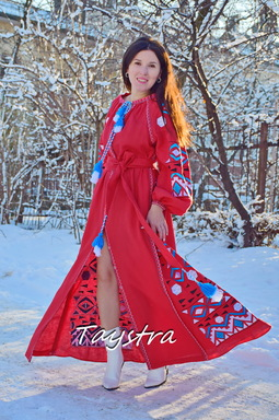 Maxi Dress Embroidery Red Linen Dress Vyshyvanka Ukrainian embroidery Dress Embroidered