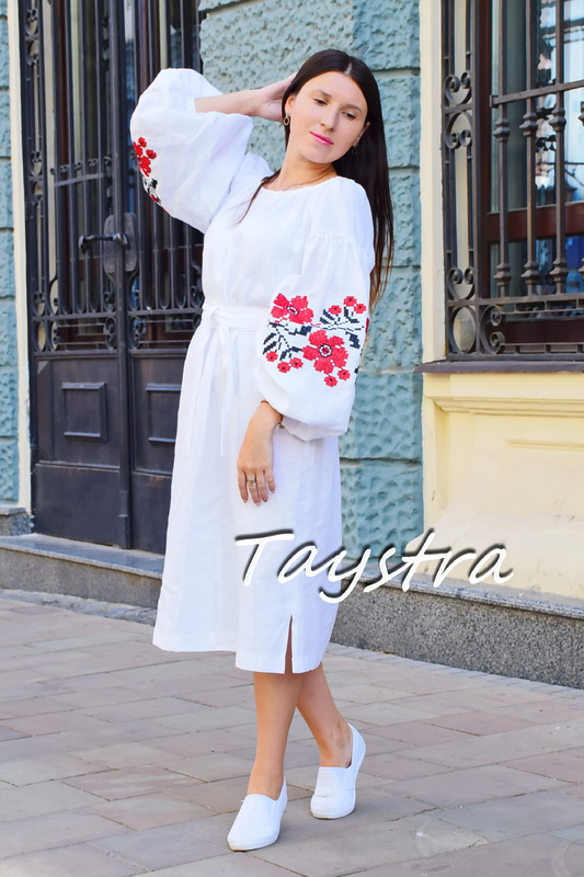 Embroidered tunic dress linen vyshyvanka Ukrainian embroidered, Boho style, Bohemian, ethno