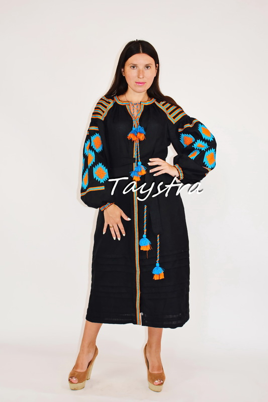 Embroidered Black Dress linen ethno style boho chic Vyshyvanka Dress Color Embroidery, Ukrainian embroidery