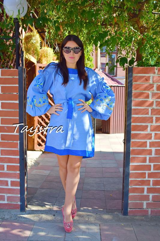 Vyshyvanka Dress Embroidery Linen, Ukrainian embroidery Sky-Blue Dress, Short Dress