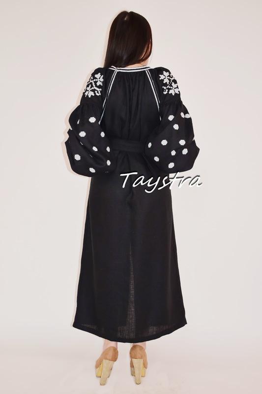 Vyshyvanka Black Dress Ukrainian embroidery, style boho chic Embroidered dress Multi Color Embroidery Linen