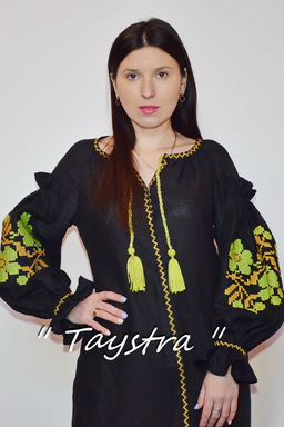 Black Dress Vyshyvanka Ukrainian embroidery, BohoDress, ethno, style boho chic, Embroidered dress, Multi Color Embroidery Linen