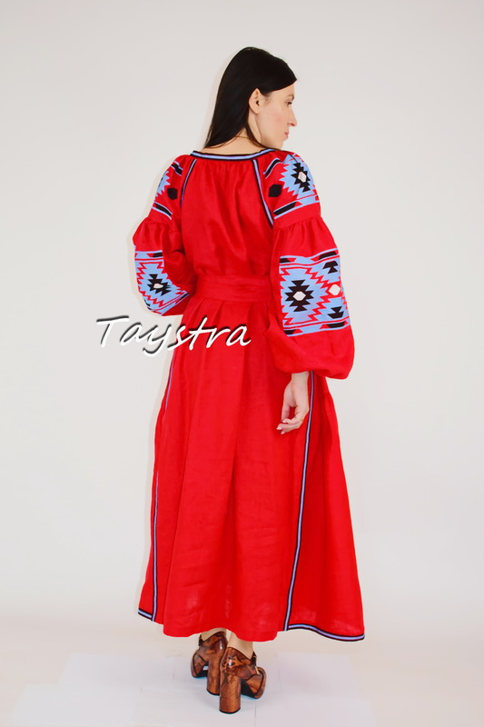 Embroidered Red Dress Linen, ethno style boho chic, Bohemian Vyshyvanka Dress Multi Color Embroidery Linen, Ukrainian embroidery