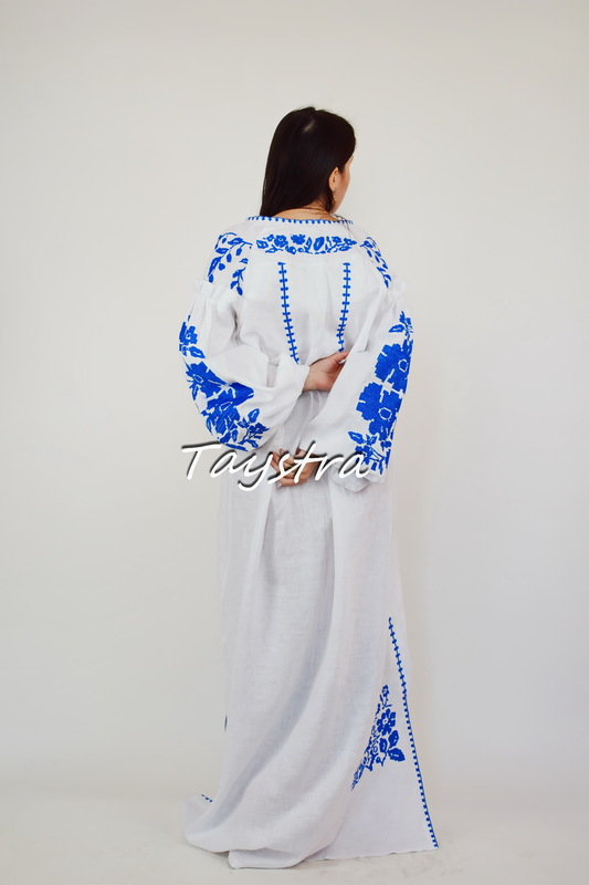 Evening Dress White Wedding Dress Embroidered ethno style boho chic, Maxi Dress Embroidered
