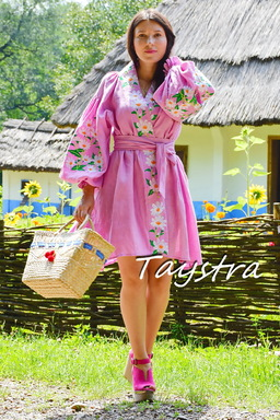 Embroidered dress Vyshyvanka Dress Multi Color Embroidery Linen, Ukrainian embroidery, Pink Dress