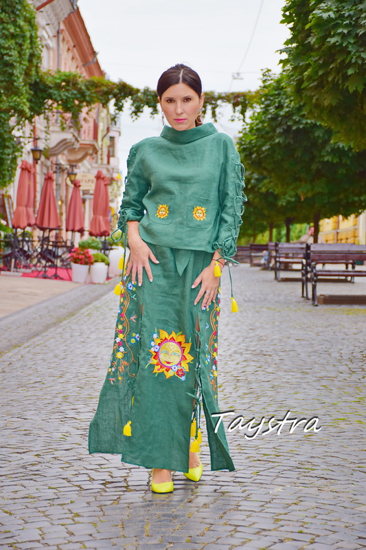 Embroidered skirt with a belt and blouse in ethno style, women's suit summer, embroidered clothing