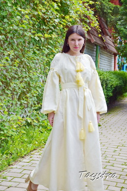 Embroidered Dress Vyshyvanka Ukrainian embroidery, ethno style boho chic, Beige Dress