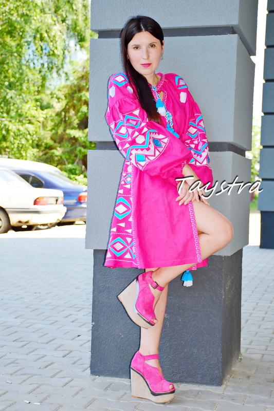 Short  Dress Embroidered Vyshyvanka Pink Dress Embroidery Linen Mini Dress Rose