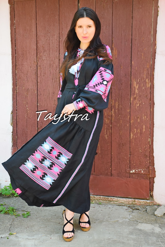 Embroidered Black Dress linen ethno style boho chic Bohemian Vyshyvanka Dress Multi Color Embroidery Linen Ukrainian embroidery Fashionable stylish evening dress