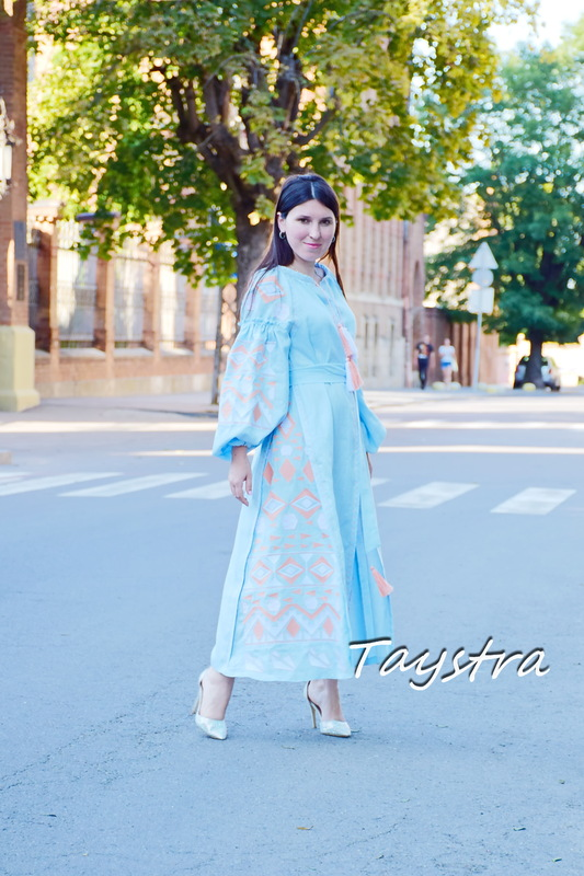 Gently Blue Maxi Dress Embroidered Vyshyvanka Dress Embroidered Linen Mini Dress
