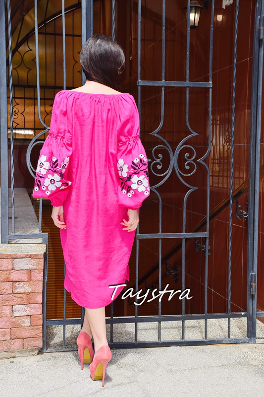Tunic Dress Color Embroidery Linen Bohemian Vyshyvanka Ukrainian embroidery