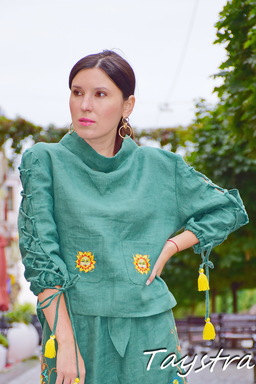 Green Blouse Linen Vyshyvanka, Embroidered clothes, Stylish Blouse