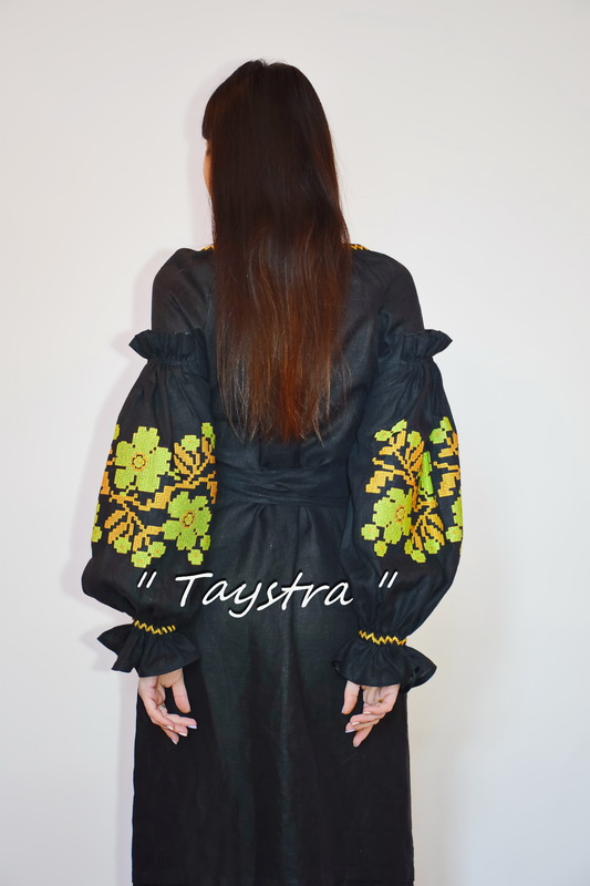 Black Dress Vyshyvanka Ukrainian embroidery, BohoDress, ethno, style boho chic, Embroidered dress, Multi Color Embroidery Linen