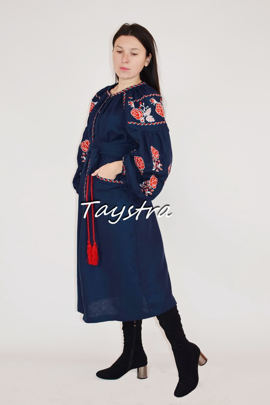 Blue Dress Embroidered, Multi Color Embroidery Linen Dress Ukrainian embroidery