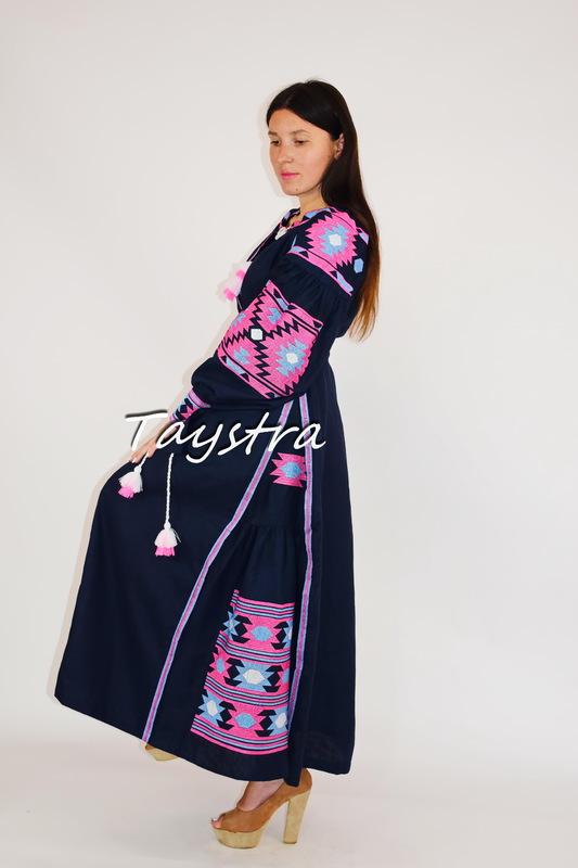 Dress Embroidered linen Dark Blue drees ethno style boho chic Vyshyvanka Dress Embroidered