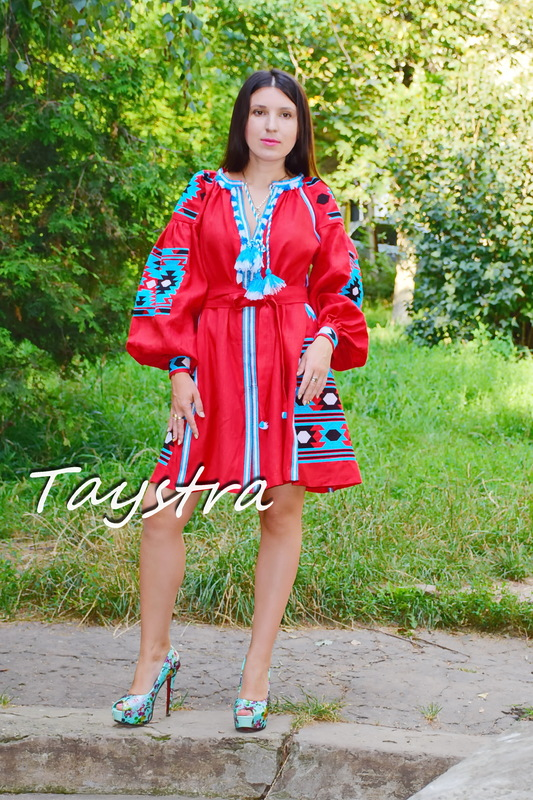 Red Short Dress Boho style Vita Kin boho chic Vyshyvanka Dress Multi Color Embroidery Linen Ukrainian embroidery Dress