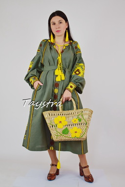 Linen Dress Embroidered ethno style boho chic Vyshyvanka Green Dress Embroidered