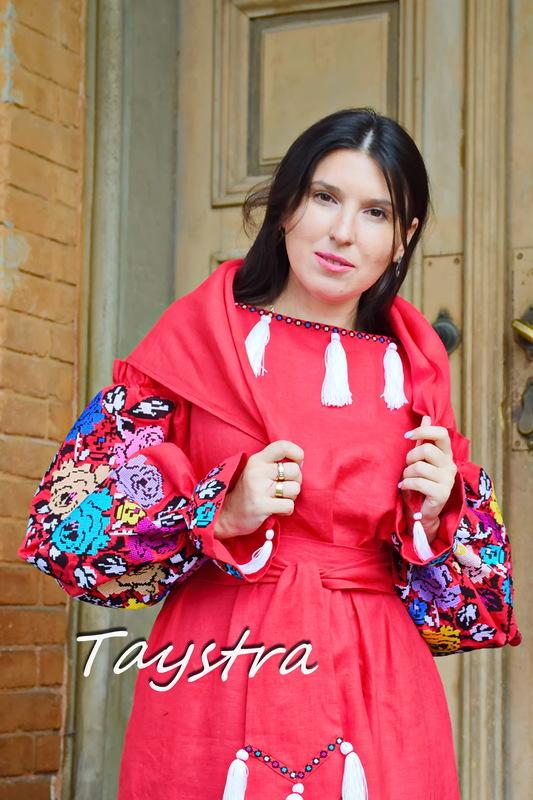Boho Embroidered Dress Vyshyvanka Ukrainian Flower Embroidery Red Maxi Linen
