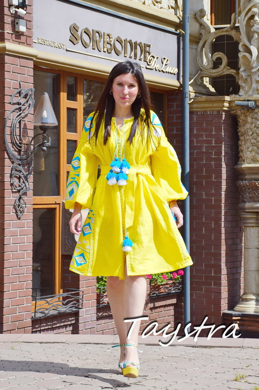 Yellow Short Dress Embroidered Vyshyvanka Dress Embroidery Linen Dress Gypsy