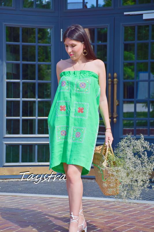 Green Tunic Dress Color Embroidery Linen Green Vyshyvanka Ukrainian embroidery