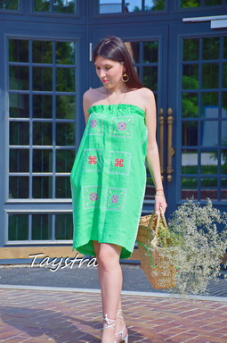 Green Tunic Dress Color Embroidery Linen Green Vyshyvanka Ukrainian embroidery