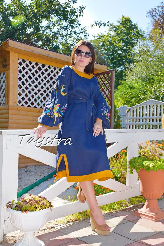 Blue Midi Dress Multi Color Embroidery Linen Dress Embroidered Vyshyvanka Dress Ukrainian