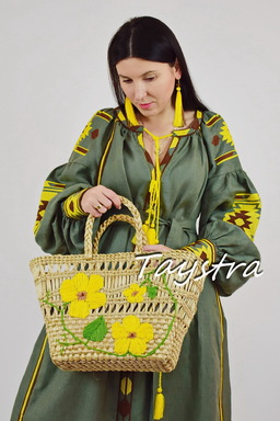 Wicker bag with embroidery, women's bag decorated in ethno style